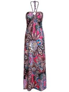 Floral Print Halter Bohemian Dress