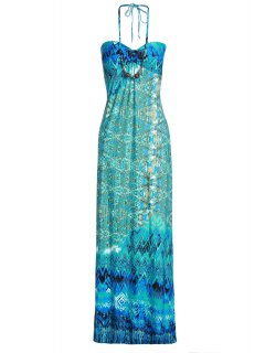 Halter Neck Jewelled Bohemian Dress - Blue And Green