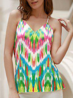 Sexy Spaghetti Strap Colorful Racerback Tank Top For Women - Green Xl