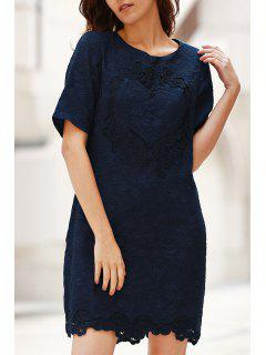Solid Color Lace Splicing Round Neck Short Sleeve Dress - Purplish Blue Xl