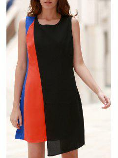 Hit Color Round Neck Sleeveless Chiffon Dress - Black Xl