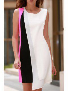 Color Block Round Neck Sleeveless Chiffon Dress - White Xl