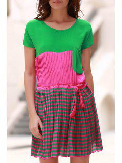 Striped Color Block Round Neck Short Sleeve Dress - Green L