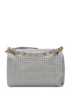 Rivets Solid Color PU Leather Tote Bag - Silver