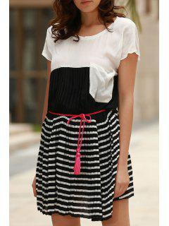 Striped Hit Color Round Neck Short Sleeve Dress - White L