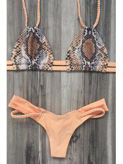 Printed Braided Spaghetti Straps Bikini Set - Earthy M