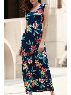Scoop Neck Tropical Print Long Dress - Blue 2xl