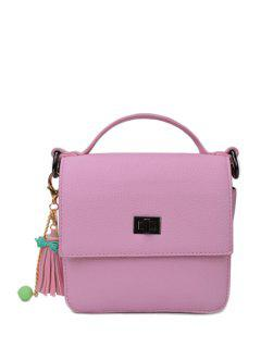Tassel Hasp Solid Color Tote Bag - Pink