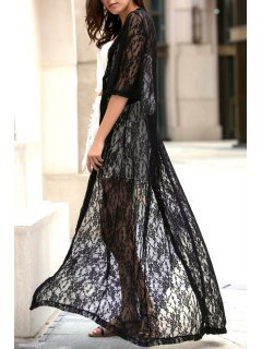 Single-Breasted Lace Extra-Long Blouse - Black M