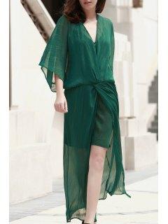 Robe Verte Cami Et Chiffon Maxi Dress Twinset - Vert L
