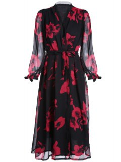Sheer Sleeve Tie-Up Midi Dress - Red With Black