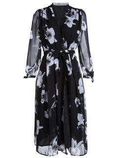 Sheer Sleeve Tie-Up Midi Dress - White And Black