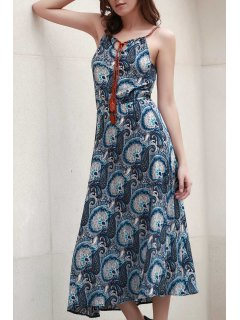 Paisley Print Spaghetti Straps Dress - Blue 2xl