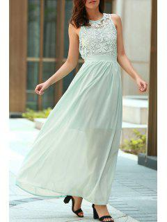 Lace Splice Jewel Neck Sleeveless Maxi Dress - Light Blue Xl