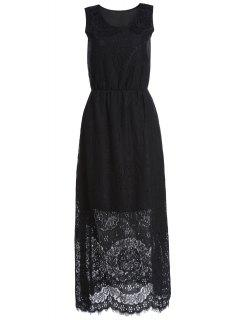 Cutout Floral Pattern Long Dress - Black M