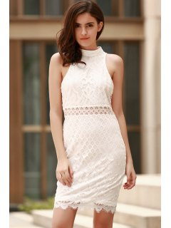 Mock Neck Guipure Lace Sheath Dress - White L