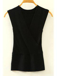 Knitted V-Neck Crossed Tank Top - Black