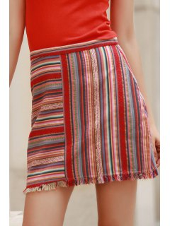Packet Buttocks Colorful Mini Skirt - Red L