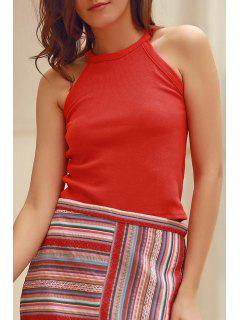 Solid Color Round Collar Tank Top - Brick-red Xl