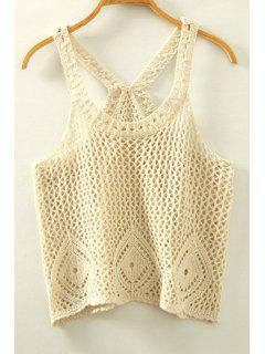Crocheted Spaghetti Strap Tank Top - White