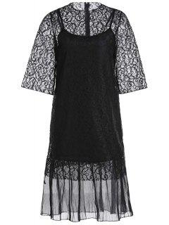 Openwork Lace Hook Dress + Camisole Dress Twinset - Black