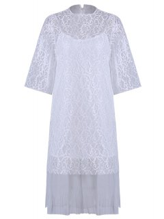 Openwork Lace Hook Dress + Camisole Dress Twinset - White