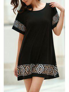 Geometric Print Round Neck Short Sleeve Dress - Black Xl