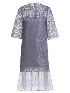 Openwork Lace Hook Dress + Camisole Dress Twinset - Gray Xxs