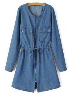 Long Sleeve Zip Up Denim Dress - Blue L