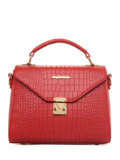 Crocodile Print Metallic Letter Tote Bag - Wine Red