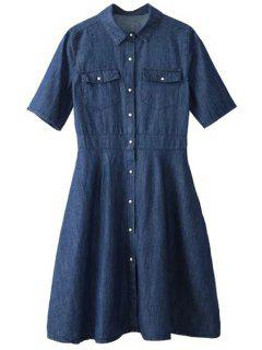 Preppy Style Denim Dress - Blue L