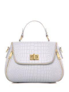 Zips Hasp Crocodile Print Tote Bag - Light Gray