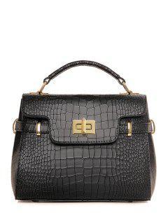 Solid Color Crocodile Print Metal Tote Bag - Black