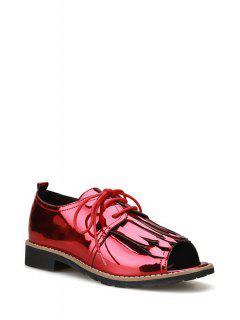 Fringe Lace-Up Peep Toe Shoes - Red 39