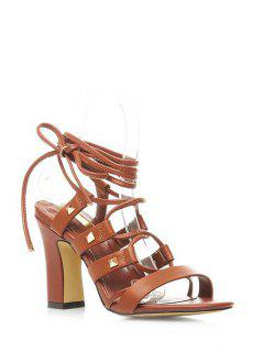 Chunky Heel Rivet Lace-Up Sandals - Brown 39