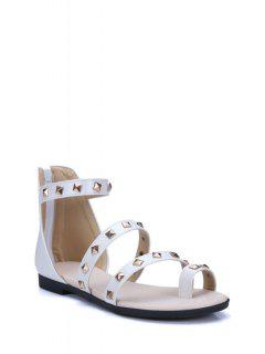 Rivet Flat Heel Toe Ring Sandals - White 39