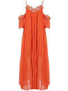 Cold Shoulder Spaghetti Straps Solid Color Dress - Orange