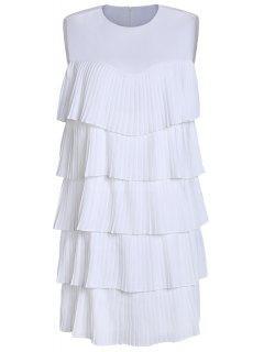 Multi Capa De Cuello Redondo Vestido Del Color Sólido - Blanco