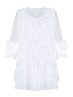 Voile Spliced Round Collar Solid Color Pleated Blouse - White