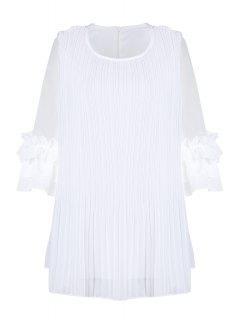 Gasa Empalmado De Cuello Redondo De Color Sólido Plisado De La Blusa - Blanco