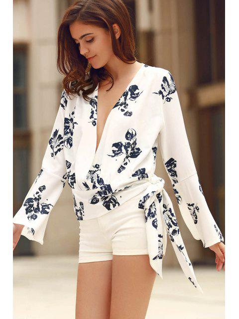 fancy Abstract Print Plunging Neck Flare Sleeve Blouse - WHITE 2XL Mobile