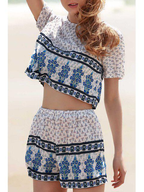 sale Cropped Short Sleeve Printed T-Shirt and Shorts Twinset - WHITE S Mobile