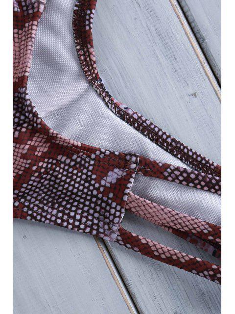 fashion Printed Braided Halter Bikini Set - PINK M Mobile