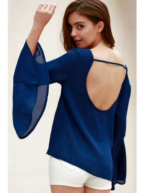 shop Blue Loose Scoop Collar Flare Sleeve Blouse - BLUE M Mobile