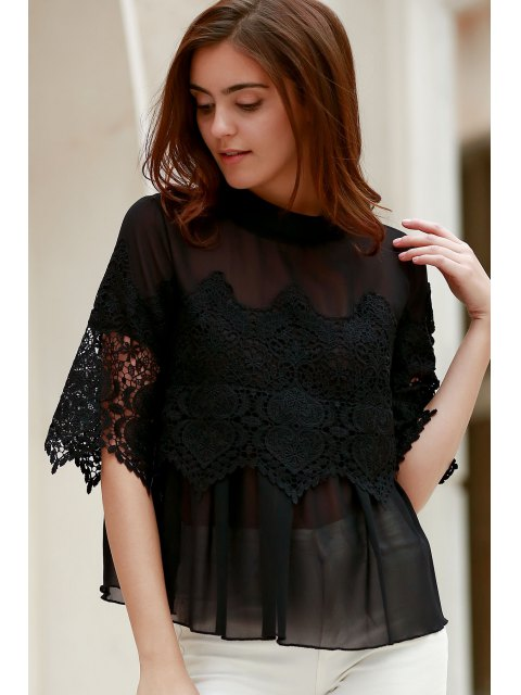 outfit Lace Chiffon Splicing Round Neck 3/4 Sleeve Blouse - BLACK 2XL Mobile