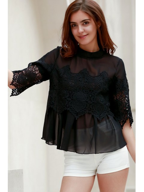 hot Lace Chiffon Splicing Round Neck 3/4 Sleeve Blouse - BLACK XL Mobile
