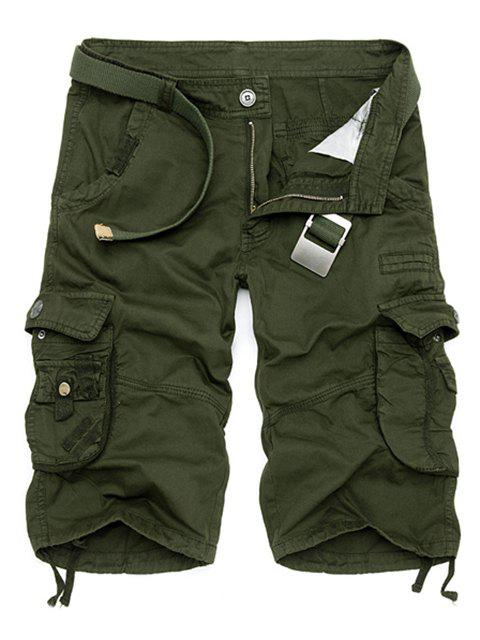 fashion Solid Color Multi-Pocket Straight Leg Zipper Fly Loose Fit Cargo Shorts For Men - ARMY GREEN 30 Mobile