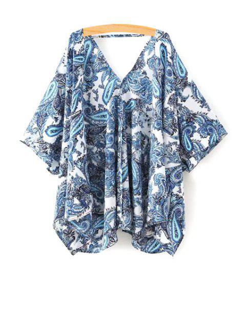 Paisley Print media manga de la blusa kimono - Azul S Mobile