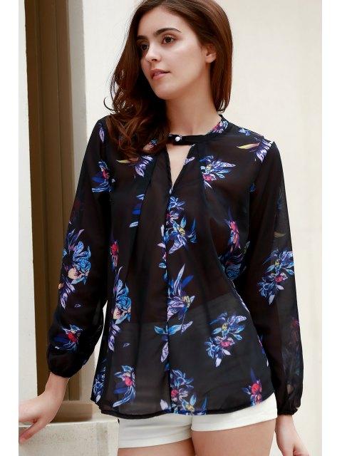Chemise à manches longues à imprimé floral coloré à col en V - Noir M Mobile