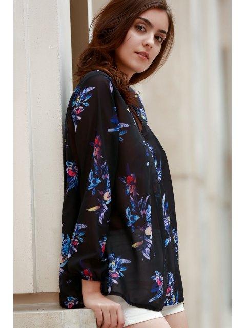 Chemise à manches longues à imprimé floral coloré à col en V - Noir L Mobile